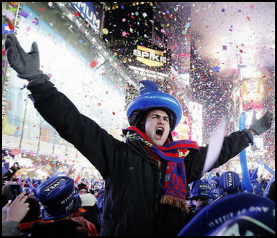 Revellers celebrate the new year in Times Square in New York