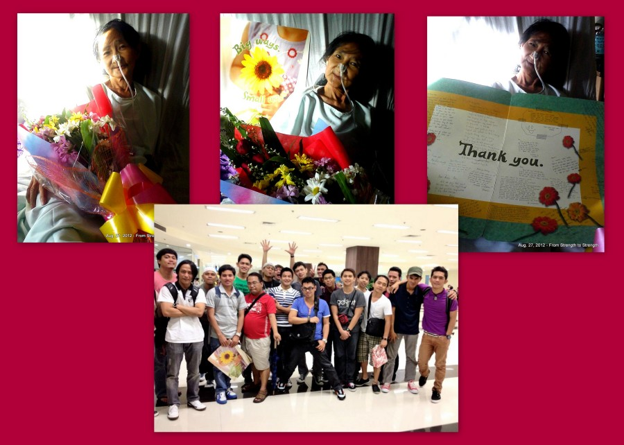 August 27, 2012 - Nanay thanks my Family of Brothers for their Giant Get Well Soon Card and Bouquet of Flowers