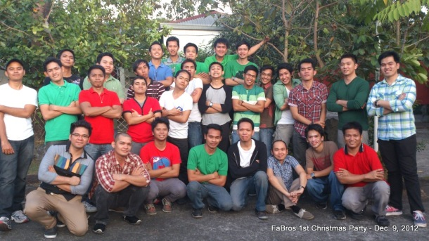 Family of Brothers' (FaBros) 1st Christmas Party 2012. A Victory Group for Single Men which I started in 2010 at Victory Metro East grew to five (5) other VG's this year alone. How amazing God's love and grace truly is!