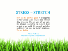 STRESS = STRETCH. Both can be painfully good. It all depends on how we see it, and how we deal with our daily stressors. We can vent all we want. But let's just ensure that we deal with them as best as we could. We can only go to the next level if we pass our current challenge. We can do this! -Adrian Pantonial