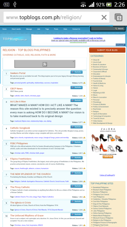 Rank 1 at Top Blogs Philippines