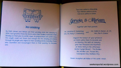 Their wedding invitation in a form of a booklet