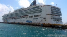Our ship, Norwegian Jewel, docked near Costa Maya Island, Mexico