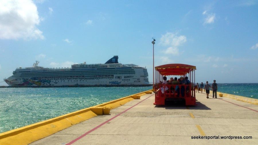 Our cruise ship, Norwegian Jewel, docked near Costa Maya Island, Mexico.