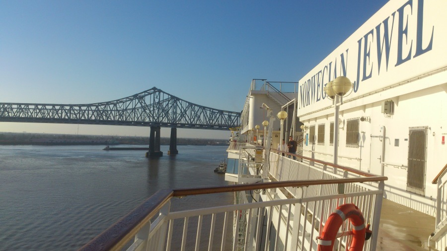 View from the aft, port side (back, left part of) Norwegian Jewel docked in Mississippi River, New Orleans, Louisiana