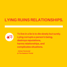 Seekers Portal - Lying ruins relationships.